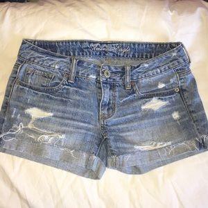Light-Wash Destroyed Denim Short Shorts